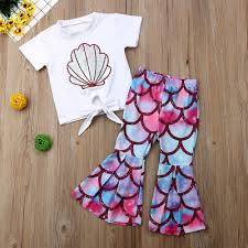 <b>2pcs Toddler</b> Kid <b>Baby Girl Clothes</b> Mermaid T Shirt Tops Pants ...