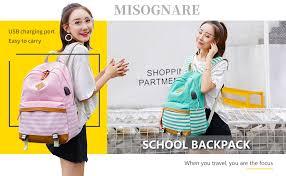 misognare College School Bookbag Canvas USB ... - Amazon.com