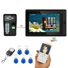 <b>7inch Wired</b> / Wireless Wifi Fingerprint <b>RFID</b> Password Video Door ...