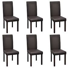 vidaXL 6 <b>Modern Artificial Leather Wooden</b> Dining Chairs Brown