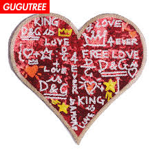 2019 <b>GUGUTREE Embroidery Paillette Big</b> Love Heart Patches ...