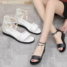 Junior high school student Sandals female Summer new <b>flat bottom</b> ...
