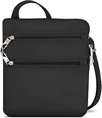 Travelon Anti-theft <b>Classic</b> Slim Dbl Zip <b>Crossbody Bag</b>, Black, One ...