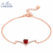LAMOON 100% <b>Natural</b> Heart Cut <b>Red Garnet Rings</b> for Women ...