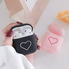 Luxury Hard PC <b>Earphone Case For Airpods</b> Black Pink Heart ...