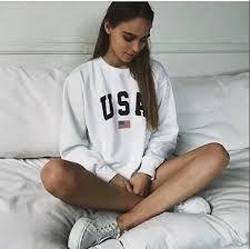 2019 <b>2018 Women</b> Fashion Clothing USA Letters Print Sweatshirts ...