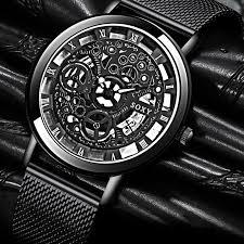 Fashion <b>Business Skeleton Watch</b> Men Engraving Hollow Quartz ...