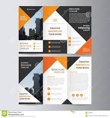 abstract triangle geometric brochure flyer design layout template abstract orange black triangle trifold leaflet brochure flyer template design book cover layout design stock