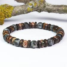 Bracelet men beads Ø 8mm <b>natural</b> stone Jasper Leopard, <b>Larvikite</b> ...