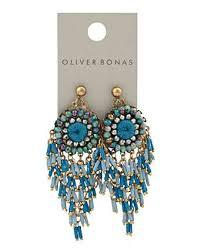 Chenzira Blue <b>Beaded Tassel Statement</b> Earrings | Oliver Bonas