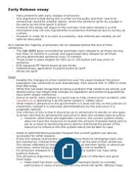 the early release of prisoners   structured essay plan  these are the notes i made to answer any structured question on the early release of prisoners they cover the law as it stands with some key arguments for