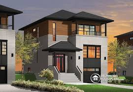 House plan W detail from DrummondHousePlans comfront   BASE MODEL Contemporary narrow lot house plan  under building parking  family and