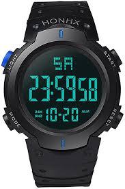 <b>Mens</b> Watches Bbring <b>Honhx Men</b> Boys Waterproof LCD Digital ...