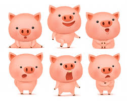 Premium Vector | Collection of <b>funny pig</b> cmoticon characters in ...