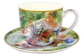 Купить <b>Чашка с блюдцем Девушка</b> с корзиной цветов в ...