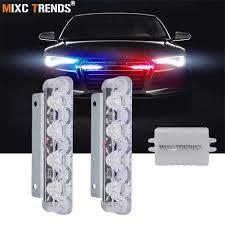 <b>2Pcs 4 LEDs</b> Stroboscope Ambulance Police Light 12V <b>LED</b> DRL ...