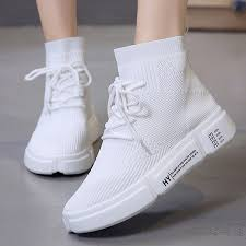 Women White Shoes Mesh <b>Breathable High top</b> Sneakers Summer ...