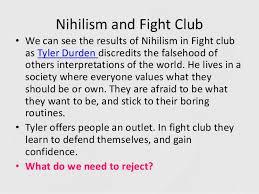 nihilism in fight club essaynihilism in fight club essay one day