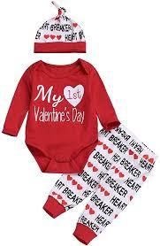 3PCS Newborn Baby Boy Girl My 1st Valentine's Day ... - Amazon.com