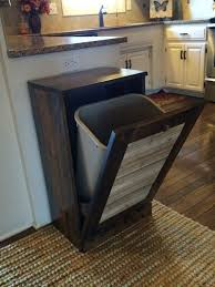wood kitchen trash cans island