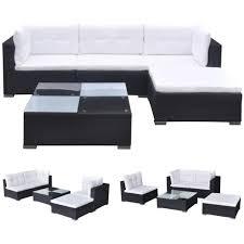 HERCHR <b>5 Piece Garden Lounge</b> Set with Cushions Poly Rattan ...