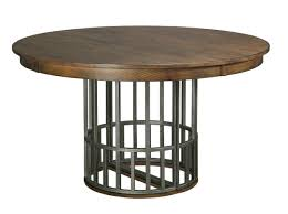 expandable dining table ka ta: elements dining table with expanding metal pedestal base and one extension leaf