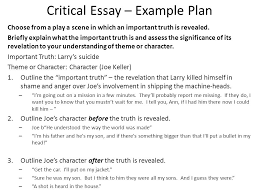 all my sons  critical essay question choose from a play a scene  critical essay  example plan choose from a play a scene in which an important truth
