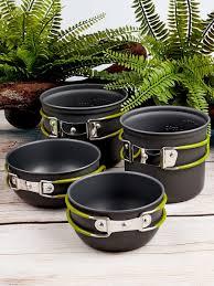 Набор туристической посуды из 4 предметов, 2 котелка (0,8 л., 1 ...
