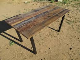 real rustic kitchen table long: rustic oak and blackened steel dining table