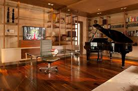 beige desk chair home office contemporary image ideas with book shelves red wood floor built bookcase desk ideas