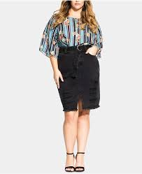 City Chic Trendy <b>Plus Size Cotton Ripped</b> Denim Skirt | Products in ...