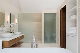 bathroom place vanity contemporary: glass door for bathroom dazzling bathroom modern decorating ideas come with frosted glass door shower and oak bathroom door and vanity combine white top plus bowel sink in white