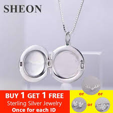 <b>SHEON</b> 100% <b>925</b> Silver Necklace Women's DIY Custom Photo ...