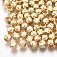 <b>100 pcs</b> 4 mm KC Gold CCB <b>plastic</b> bead,spacer bead,seed bead ...