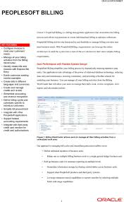 peoplesoft billing oracle s peoplesoft billing is a billing manage all your billing activities from the billing workcenter quickly create bills and invoices express