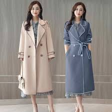 Spring new elegant <b>contrast color</b> lapels long wool coat women's ...