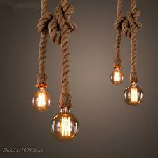Hemp Rope Pendant Lights <b>Vintage Retro Loft Industrial</b> Hanging ...