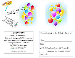 paintbrush pottery products services click here for able birthday party invitation note it will print out correctly if you file to your