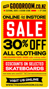 time the good room its time 30% off all clothing instore and online includes already discounted product online discounts on selected skate decks shoes and other