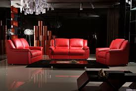 modern living room apartment design with black wall interior color decor red leather sofa wooden coffe table and white ceramic floor tiles ideas black and red furniture