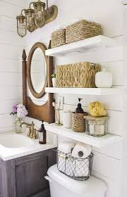 country bathroom colors: country bathroom with shelves installed above toilet