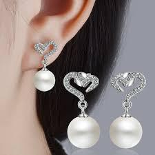 Ladies <b>Elegant</b> Solid 925 Sterling Silver <b>AAA Zircon Heart</b> Pearl ...