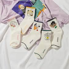 Socks <b>Women's Korean style</b> Ulzzang <b>Cotton</b> Solid Color Japanese ...
