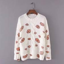 women sweater coat O-Neck collar full sleeve sweet pullovers print ...