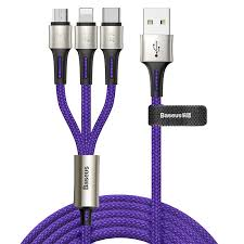 Кабель <b>Baseus caring</b> touch selection 1-in-3 USB cable 1.2m Blue