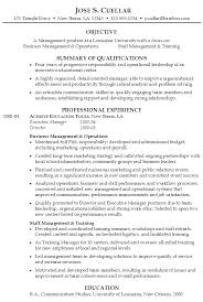 resume  operations and staff management positionsample resume management university