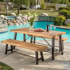 patio dining: outdoor puerto acacia wood  piece picnic dining set by christopher knight home