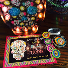 com halloween sugar skull invite printable upload the invitation jpeg to a photo editing program like pic monkey and add your party into it s so easy to make a save the date