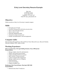 resume secretary job description