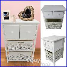 white storage unit wicker: shabby chic basket drawer cabinet wicker beside table storage unit white wooden